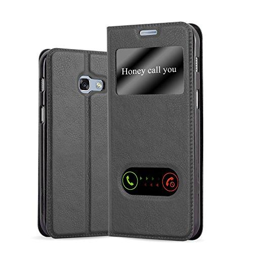 Cadorabo Hülle für Samsung Galaxy A3 2017 (7) - Hülle in KOMETEN SCHWARZ – Handyhülle im Standfunktion und 2 Fenstern (View Design) - Case Cover Schutzhülle Etui Tasche Book Klapp Style