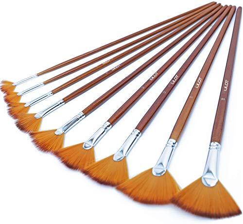 Juego de brochas de pintura para ventilador de artista, 9 unidades, suave, antiderramamiento de pelo de nailon, mango largo, para pintura acrílica, acuarela, aceite, pintura