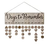 Joy-Leo Gifts for Moms Dads - Wooden Birthdays Reminder Calendar Plaque for Family Friends [100 Wood Tags with Holes, Days to Remember Pattern], Laser Engraved, Home Decorative Birthday Tracker Board Wall Hanging