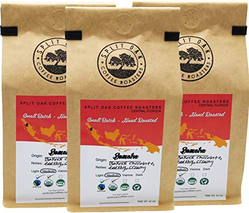 Organic Sumatra Coffee Gourmet Best Medium Roast Chocolate Espresso Beans, Hand Roasted 12 Oz, Whole Beans, Cold Brew, Indonesian Espresso Shots, Fair Trade Coffee Certified. INCREDIBLE (3 Pack)