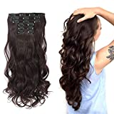 Rosa Star 1-Pack 6pcs 24inch Synthetic Hair Pieces Wavy Curly Full Head Clip In On Hair Extensions Women Lady Hairpiece (Dark Auburn 33#)