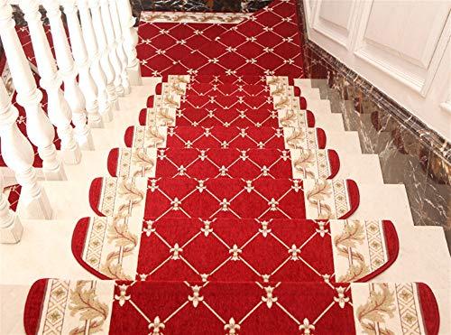 Liveinu Ancienne Marchette Escalier Tapis descalier Auto-Adhésive Tapis de Marche Antidérapants Autocollante Lavable 24x65cm (15 Pièces) Rouge 3