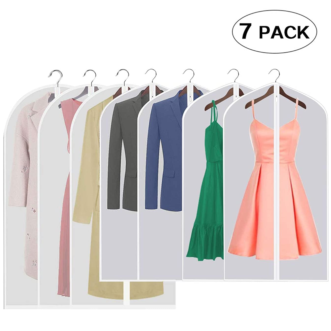 Aufisi Garment Cover Bag, Pack of 7 Premium Quality PEVA Moth Proof Clothes Covers Dustproof Clear Suit Garment Bag Breathable Full Zipper Dust Cover, 4 Pcs 40