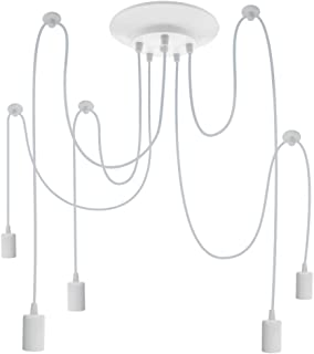 PrimeMatik - Lámpara para 5 Bombillas de Rosca E27 Vintage con Cable de 2m Blanco