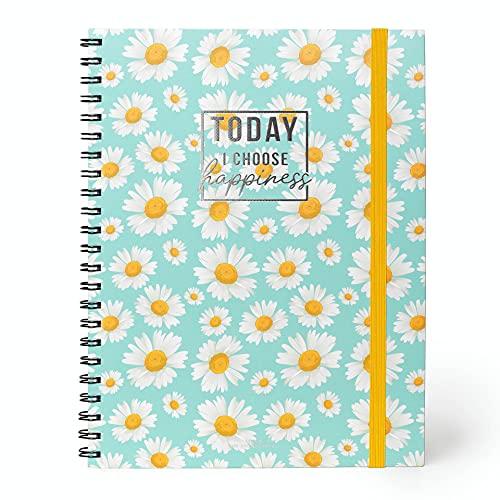 Legami - Cuaderno 3 en 1 con espiral, formato A4, maxi, 22 x 29,5 cm, papel blanco, 204 páginas desmontables: 68 a rayas, 68 a cuadros, 68 a puntos, cierre elástico, bolsillo final.