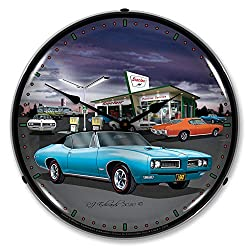 1968 Sinclair GTO at Gas Station LED Wall Clock, Retro/Vintage, Lighted, 14 inch