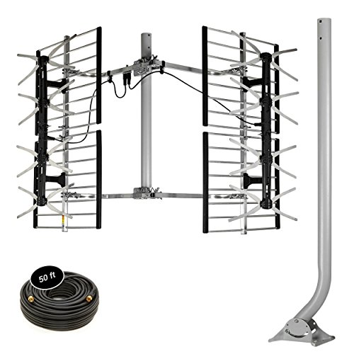 "Stellar Labs HDTV Bowtie Antenna - Powerful 80-Mile Range for Free Network TV Signals in Deep Fringe - Multi-Directional, Design - Easy Installation with Included 38"" J-Pole Mount & Coaxi"