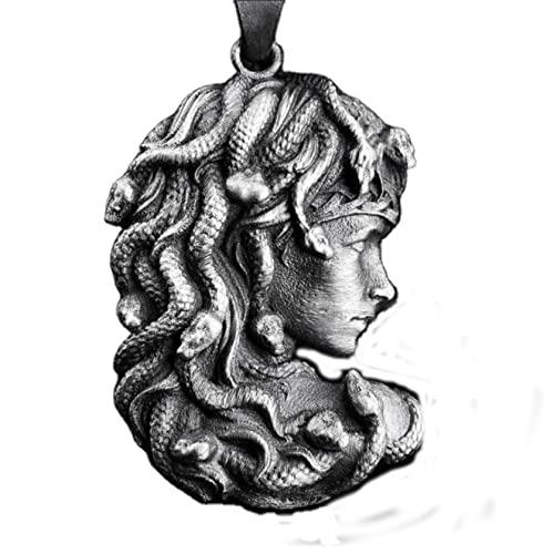 QLJYT Collar con Colgante de Medusa Pelo Serpiente del Zodíaco de La Mitología Griega, Collares de Cadena Suéter con Colgante Largo Etiqueta Nórdica para Mujer