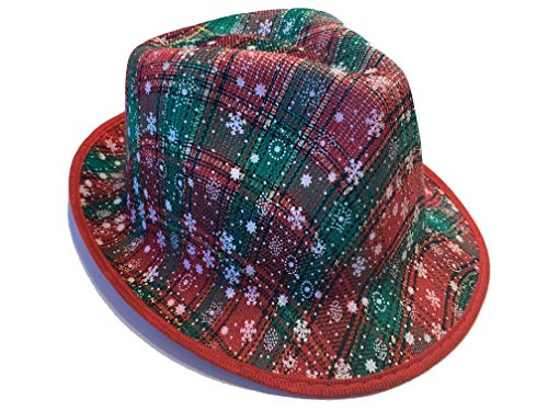 Christmas Hats For Ugly Christmas Sweater And Holiday Parties (Plaid Christmas Fedora - Red/Green)