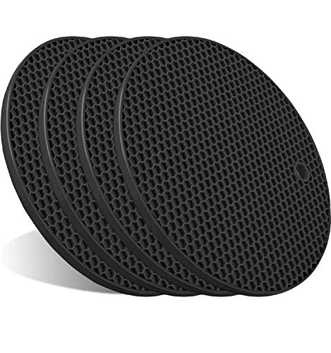 4 Pcs Trivets for Hot Pots and Pans, Kitchen Heat Resistant Silicone Trivet, Extra Thick, Large, Non Slip (Black)