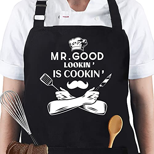Apron for Men - Mr. Good Looking is Cooking - Personalized Men Birthday Gifts Apron with Pockets, Funny Grill Apron for Husband, Dad, Boyfriend or any Friend, Grill Cooking BBQ Kitchen Chef Apron