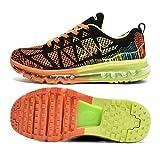Zapatos para Correr en Montaña y Asfalto Aire Libre y Deportes Zapatillas de Running Padel para Hombre Mujer(EU 43,Naranja Negro)