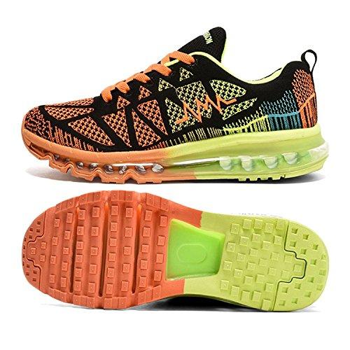 T-Gold Herren Damen Sneaker Laufschuhe Bequeme Atmungsaktiv Air Turnschuhe Fitness Sportschuhe (EU 44,Schwarz Orange)