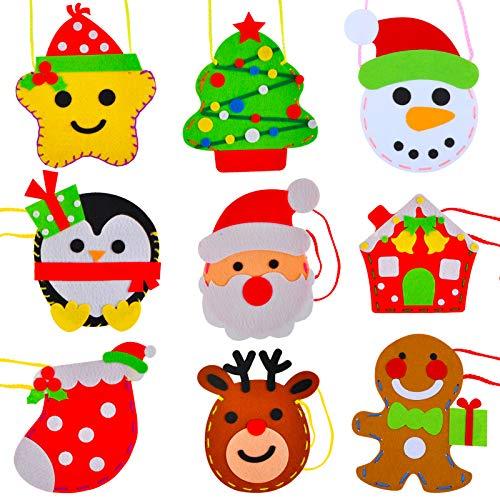 HOWAF 9 Bolsas de Navidad para Niños Coser Manualidades Bricolaje, Kit de Artesaníade Costura de Fieltro Navideño para Niños Principiantes Hecho a Mano, Haga Sus Bolsos de Navidad Juguetes de Regalo