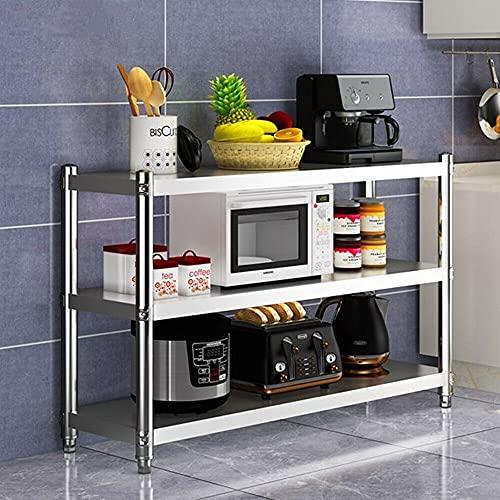 Estantería de cocina de acero inoxidable, 3 estantes, 80 x 80 x 40 cm, soporta hasta 50 kg