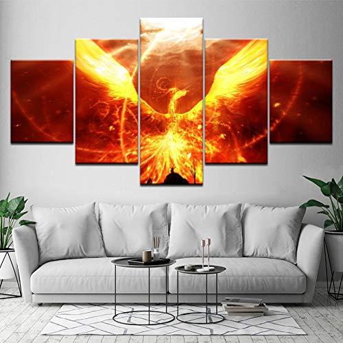 Muurkunst poster modulaire afbeeldingen canvas 5 stuks vuur Phoenix decor Home woonkamer modern HD-gedrukte abstracte schilderijen (geen lijst) 20x35 20x45 20x55cm