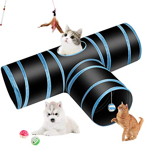 Hyselene Katzenspielzeug Katzentunnel, Interaktives Katzenspielzeug Tunnel mit Ball, Glocke und Katzenstock, 3-Wege Pet Play Tunnel für Katze, Welpe, Kitty, Kätzchen, Kaninchen