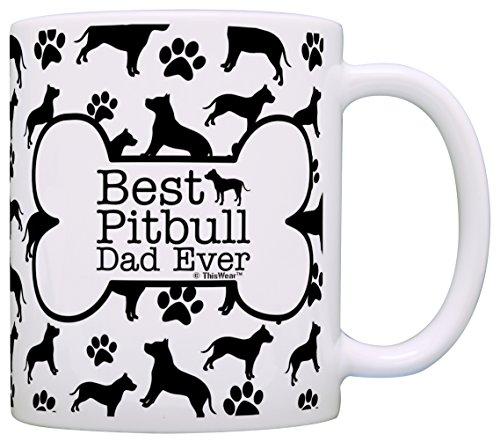 Hundeliebhaber, Geschenk für Herren, Best Pitbull Dad Ever Tasse, Pitbull Dog Dad Kaffeetasse 11 ounce Knochenmuster