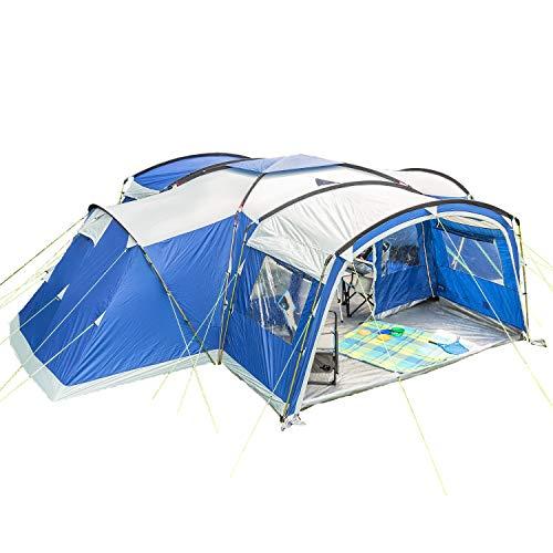 skandika Familienzelt Nimbus für 12 Personen Protect   Campingzelt mit 3 Schlafkabinen, eingenähter Zeltboden, wasserdicht, 5000 mm Wassersäule, 2,15 m Stehhöhe, großer Wohnraum mit Vorzelt (blau)