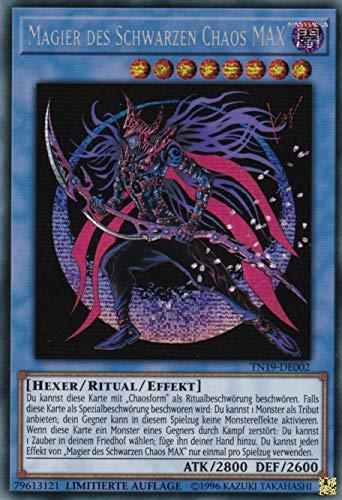 TN19-DE002 - Magier des Schwarzen Chaos MAX - Prismatic Secret Rare - Yu-Gi-Oh - Deutsch - 1. Auflage im Set mit Ultra Pro Toploader und Ultra Pro Schutzhülle (Klarsicht)