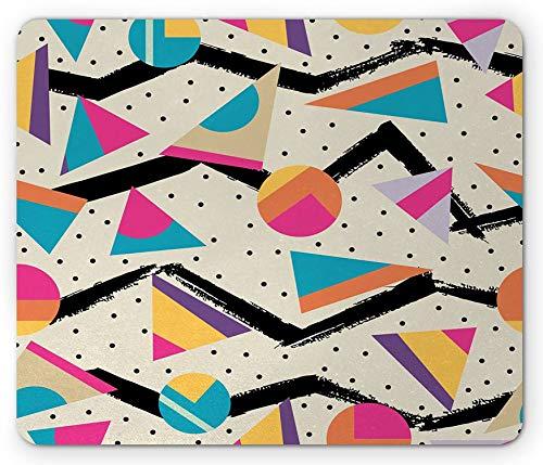Indie Mouse Pad, Achtziger Jahre Memphis Fashion Style Geometrische Zusammenfassung Buntes Design mit Punkten Funky, Rechteck rutschfeste Gummi Mousepad Creme Pink - 12x 10 Inch