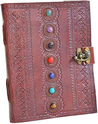 Alaska ExportTS - Diario in pelle con sette chakra, in pietra medievale, fatto a mano, libro di ombre, diario per ufficio, college, poesia, schizzi, 15,8 x 20,8 cm