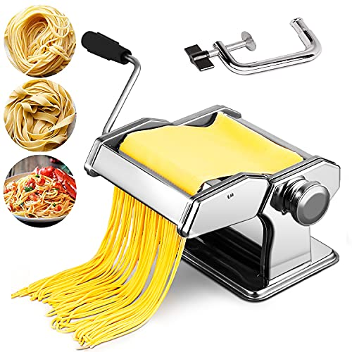 easy pasta doughs Pasta Maker Machine, 150 Roller Manual Noodle Makers with Multiple Adjustable Thickness Setting for Making Fresh Noodle or Dumpling, Kitchen Gadgets Set Includes 2 in1 Dough Cutter, Clamp & Hand Crank
