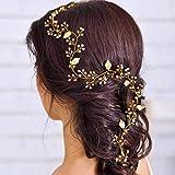 Handcess, fascia per capelli decorativa da sposa, decorata con perle, foglie color oro e c...