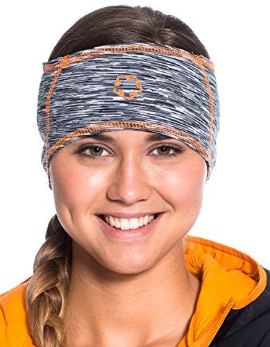 Gregster Damen und Herren Stirnband Unisex Sportstirnband zum Laufen atmungsaktiv Funktionsstirnband, grey melange/orange, Einheitsgrösse