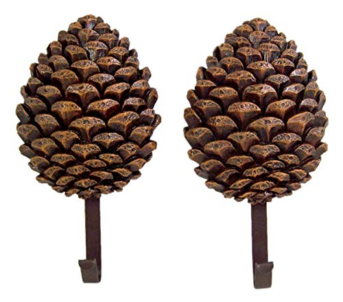 Cast Resin Pine Cone Decorative Hanging Wall Hooks, 8 Inch, Pack of 2