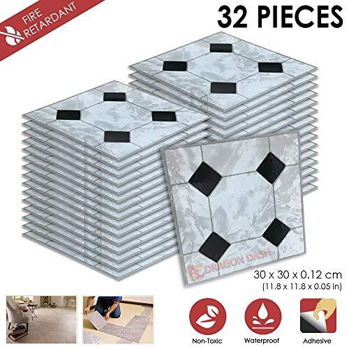32 Stucke Schalen und Kleben 30 x 30 x 0.1 cm Heimtextilien D- PORZELLAN Design PVC Bodenbelag Fliesen Selbstklebend Vinyl-Fliesen 1175