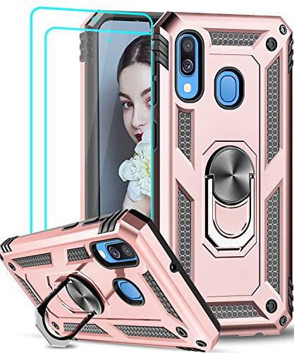 LeYi für Samsung Galaxy A40 Hülle mit Panzerglas Schutzfolie(2 Stück),360 Grad Ring Halter Handy Hüllen TPU Stoßdämpfung Cover Case Schutzhülle für Handyhülle Samsung Galaxy A40 Rosegold
