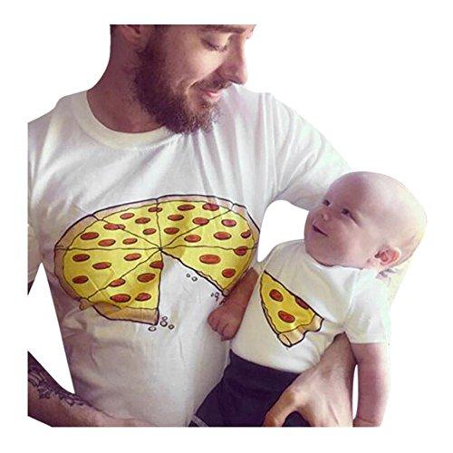 QinMM Pizza Camiseta de Papá y Bebé, Camisa de Manga Corta Hombre y Niño