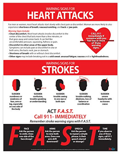 Symptoms of Heart Attack and Stroke Poster - Fast Stroke & Heart Attack Signs - Workplace Health and Safety Poster - Laminated, 17 x 22 in.