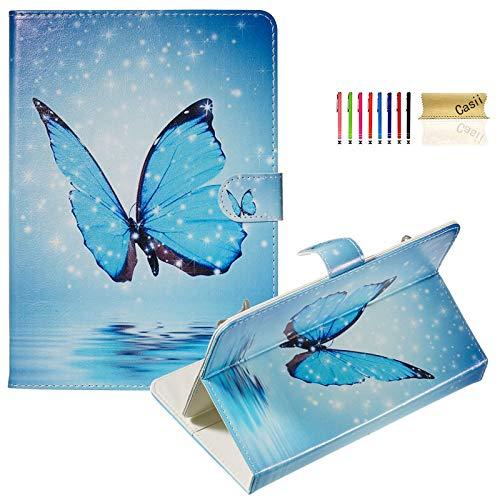 Casii - Funda universal para tablet de 7,5 a 8,5 pulgadas, delgada, con función atril, con ranuras para tarjetas, para Samsung Tab/Kin dle F ire/Lenovo Tab/Huawei MediaPad, mariposa azul