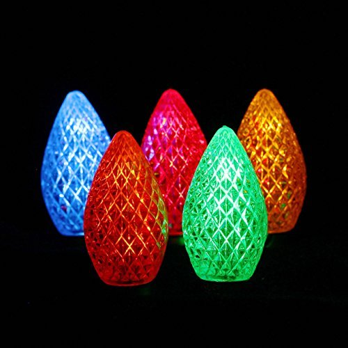 LED C7 Replacement Bulbs for Christmas - Tower Structure Strawberry Waterproof Outdoor Patio String Lights by Fantasy Holiday, Commercial Grade C7 LED Christmas Bulbs, Multi Color, 25 Pack