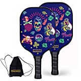 Pickleball Set, Pickleball Paddles, Pickleball Paddle Set of 2, Skull Pickle Ball Paddle with Pickleball Bags as Pickleball Gifts for Women Men Beach Ball Game Outdoor