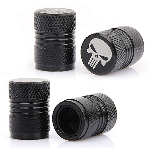 MonboAuto Tire Air Valve Stem Caps - Plastic Liner Anti-Corrosion Stem Cap Cover Punisher Skull Emblem Decal Universal fit All Car SUV Truck 4PCS