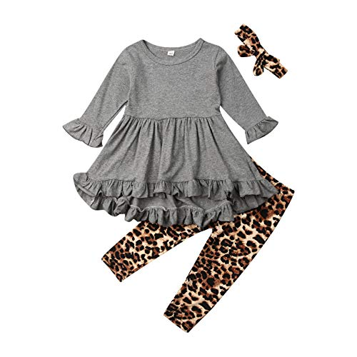 Toddler Kid Baby Girls Fall Outfits Ruffle Flare Tunic Dress Top Ghost Leopard Leggings Pants Clothing Set (Leopard & Grey, 1-2T)