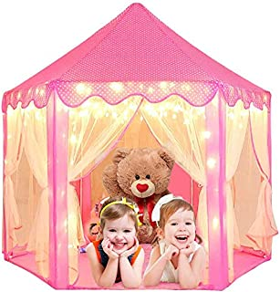 IMMEK Play Tents,140x 135 cm Princess Castle Play Tent for Girls Playhouse with 40 LED 6 M Long Star String Lights and Pri...