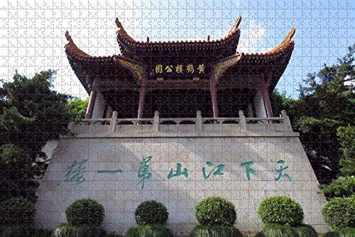Rompecabezas para Adultos China Wuhan Torre de grúa Amarilla Rompecabezas 1000 Piezas Recuerdo de Viaje de Madera
