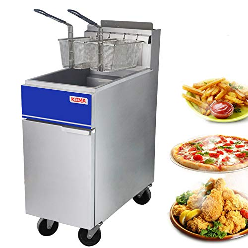 Commercial Deep Fryer - KITMA 40 lb. Natural Gas 3 Tube Floor Fryer with 2 Fryer Baskets - Restaurant Kitchen Equipment for French Fries, 102,000 BTU/h