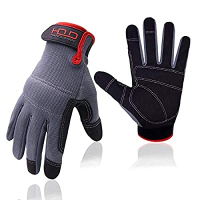 General Utility Work Glove, Mechanic Gloves Touchscreen for Men, Light Duty Firm Grip Safety Work Gloves with Padded Knuckles and Palm (Extra Large, Black and Gray)
