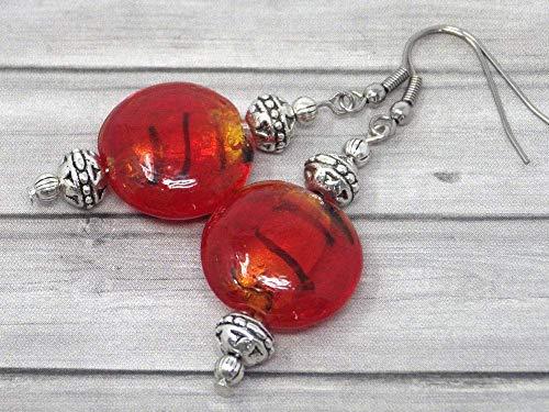 Pendientes de acero inoxidable Venezia y perlas planas de cristal de Murano...