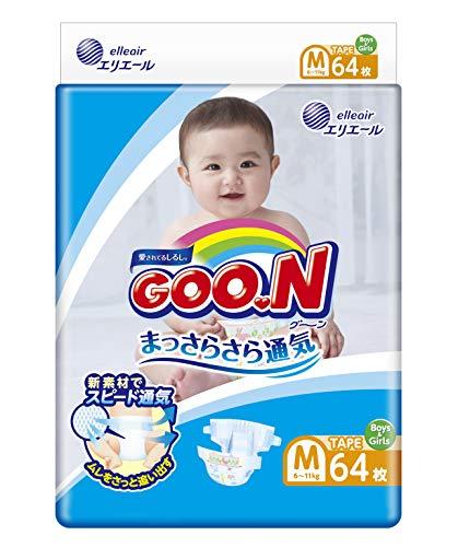 GOO.N Japanische Baby Windeln für Neugeborene Größe M (6-11 kg) 64 Stück Ultraweiche Superdünne Atmungsaktive Hochsaugfähige Windeln Größe 3