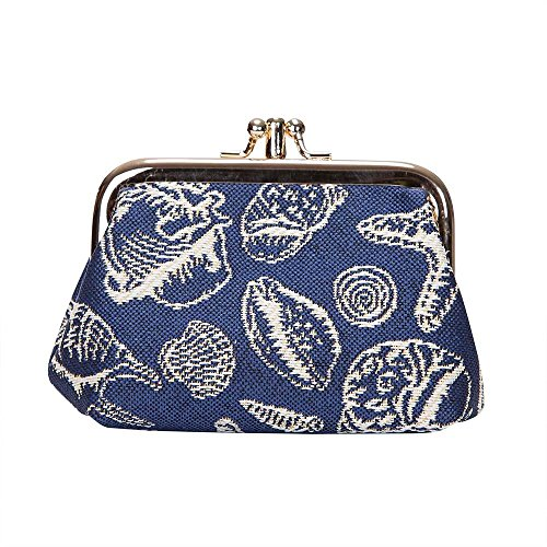 Signare Tapestry Cute Exquisite Double Pocket Kiss Lock Coin Purse for Women with Fashion Pattern Design (Sea Shell, FRMP-Shell)