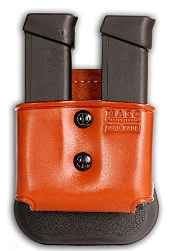 MASC HOLSTER Premium Leather Double Open Magazine Carrier Paddle fits, Glok Magazines & Similar New, Brown Color