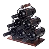 YCOCO 3 Tier Tabletop Wood Wine Holder for 6 Bottles,Freestanding Wine Storage for Kitchen Home Bar Storage and Kitchen Decor,Brown.