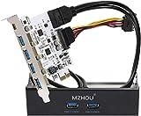 Mzhou Tarjeta PCIe USB 3.0 de 7 puertos, 5 puertos USB 3.0 y 2 tarjetas de expansión PCIe USB 3.0 traseras que incluyen bahía de expansión de panel frontal USB 3.0 de 3.5 '' y 2 cables de alimentación