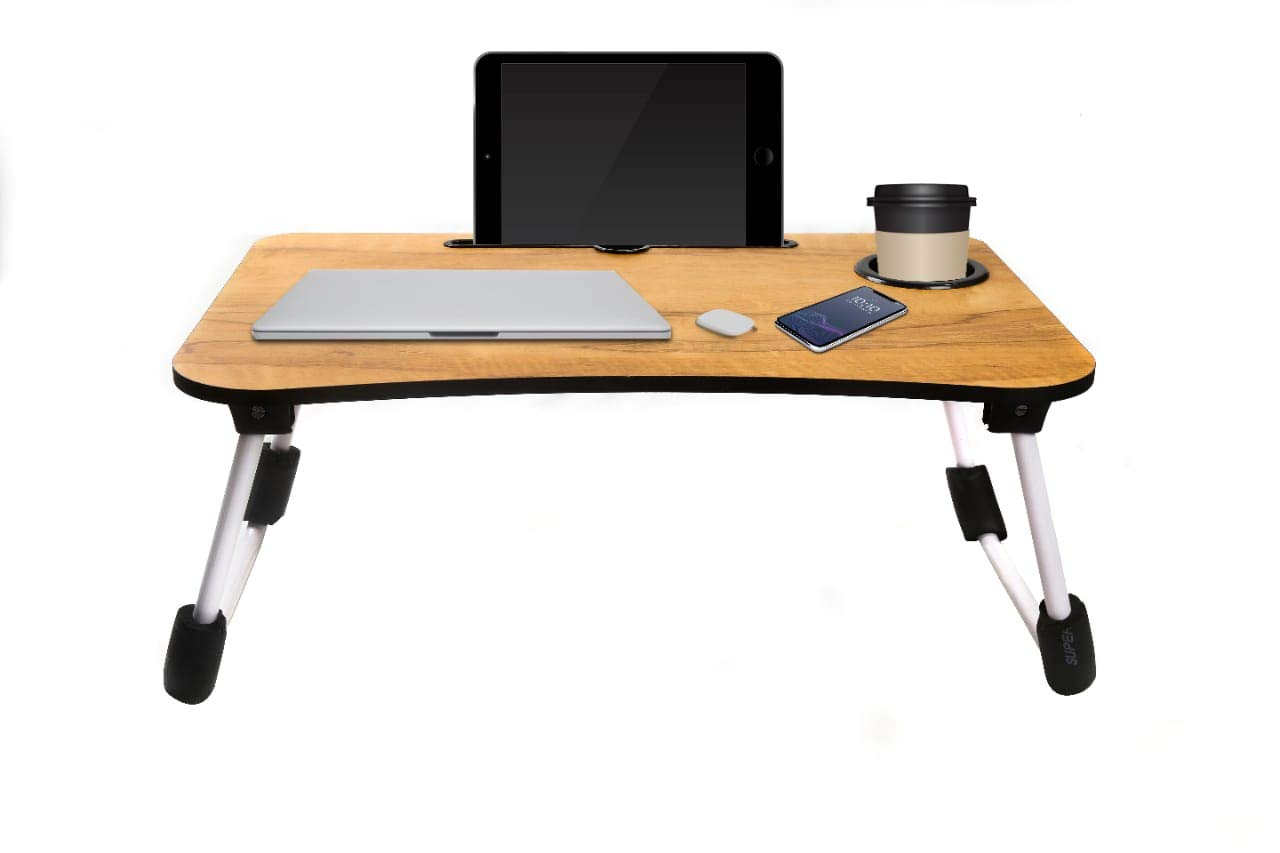 Varudi Fashion Multipurpose Foldable Laptop Table With Cup Holder Drawer Study Table Bed Table Breakfast Table Foldable And Portable Ergonomic Rounded Edges Non Slip Leg Wooden Buy Varudi Fashion Multipurpose Foldable Laptop